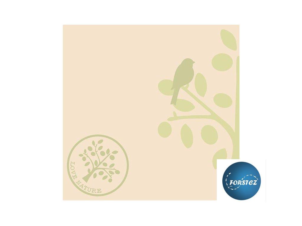 Airlaid ubrousky LOVE NATURE-BAUM - Olive/Nature brown/Beige-grey/Pebble stone - 50 ks 40x40 cm (NOVINKA)
